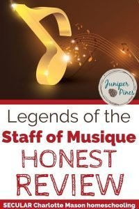 Legends of the Staff of Musique review pinterest with bouncing gold musical note